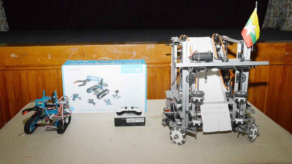 A sample for robotic machines showcasing at a technological expo. Photo : Hla Moe