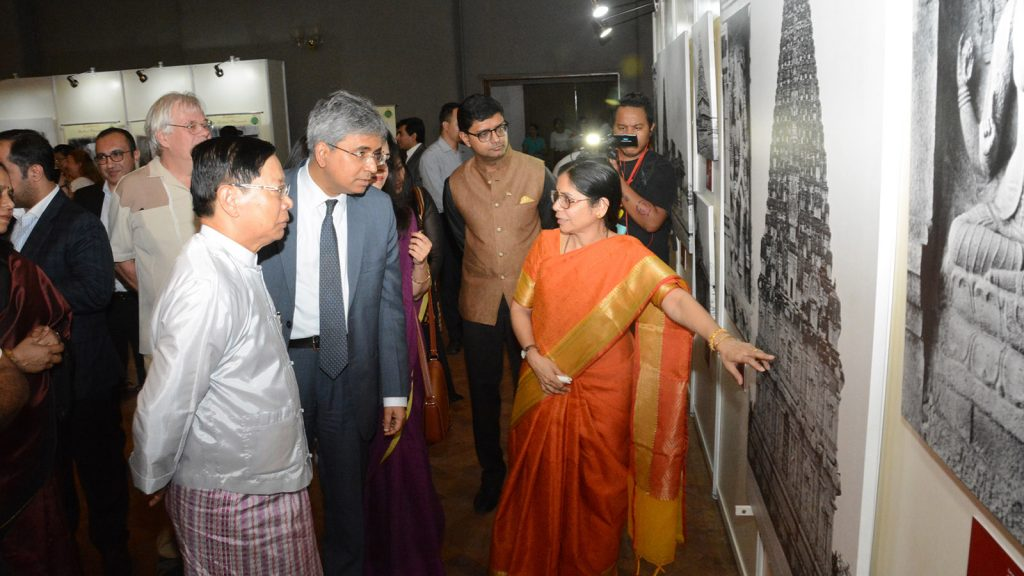 Union Minister Thura U Aung Ko visits the exhibition of Archival Photographs of the Chola Temples of India. Photo : Hla Moe