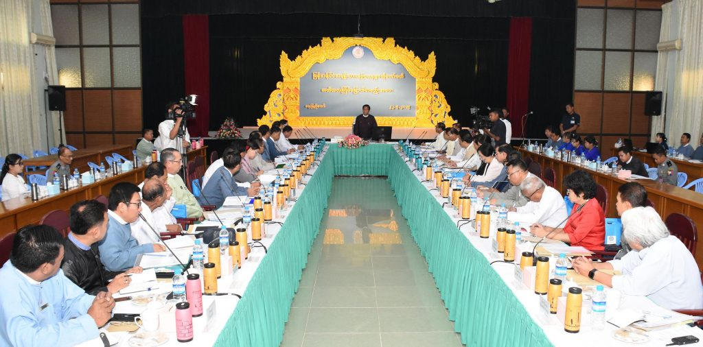 Vice President U Henry Van Thio delivers the address at the National Cultural Central Committee meeting at the Ministry of Religious Affairs and Culture in Nay Pyi Taw.Photo: MNA