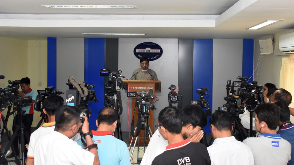 Director-General of the Office of the President U Zaw Htay gives the press conference in the Presidential Palace in Nay Pyi Taw yesterday.Photo: MNA