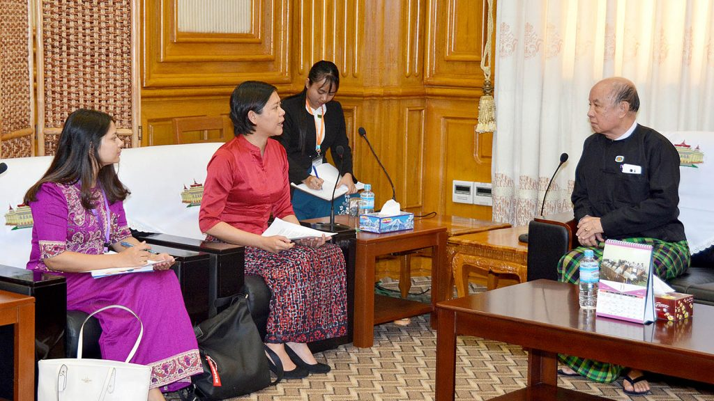 Deputy Speaker U Tun Tun Hein meets with Country Representative for Westminster Foundation for Democracy (WFD) Daw Sao Siri Rupa in Nay Pyi Taw. Photo: MNA