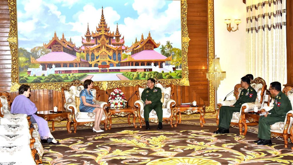 Senior General Min Aung Hlaing holds talks with United Nations Secretary-General's Special Envoy on Myanmar Ms. Christine SchranerBurgener in Nay Pyi Taw.Photo: Commander-in-Chief's Office