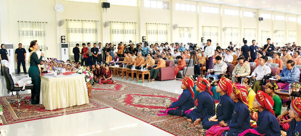State Counsellor Daw Aung San Suu Kyi meets with local people in Bago on 15 May, 2019.Photo: MNA
