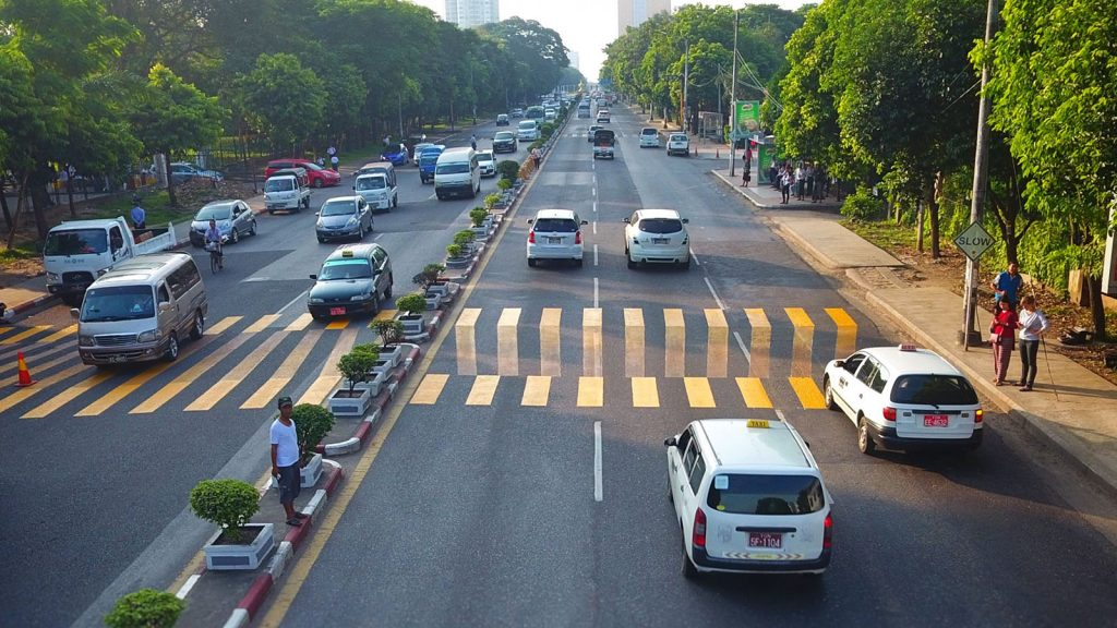 3D zebra crossing being seen on Pyay Road in Yangon. Photo: Supplied