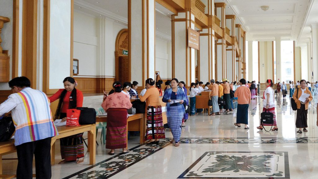 Pyithu Hluttaw Representatives attending the meeting for Pyithu Hluttaw.