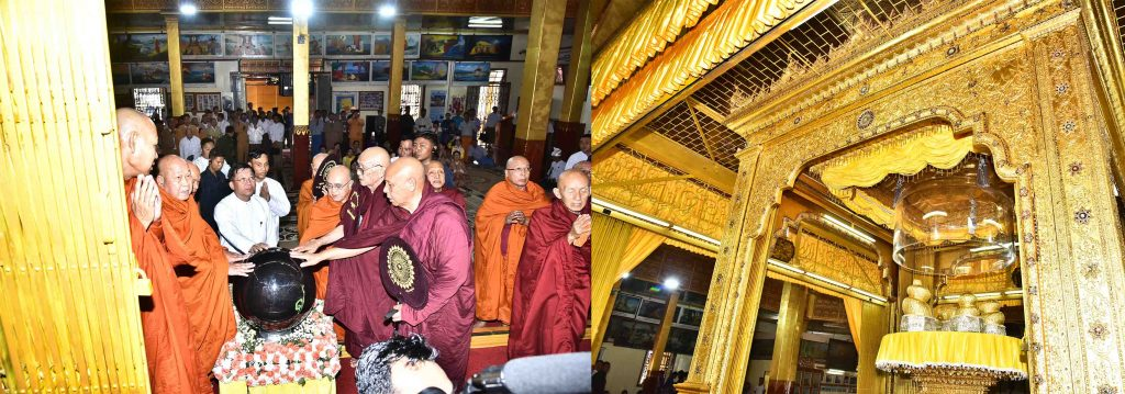 Sayadaws and Senior General Min Aung Hlaing formally open the glass pagoda at the sacred place of the Inle Buddha Images at Phaungdaung Oo Pagoda. Photo: Office of the Commander-in-Chief of Defence Services