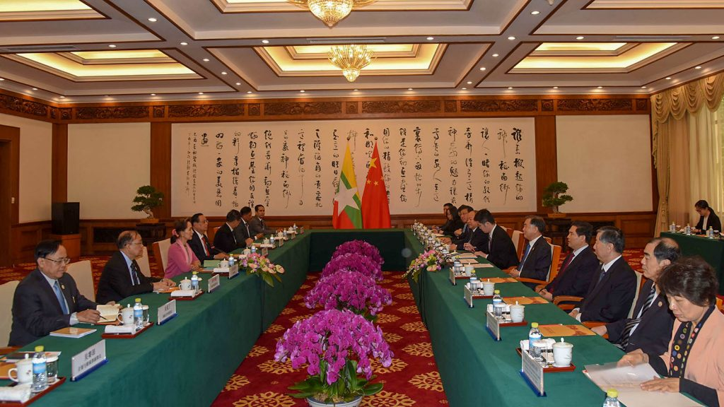 State counsellor Daw Aung San Suu Kyi attends the meeting with Mr. Wang Ying, Chairman of the Chinese People's Political Consultative Conference (CPPCC), at Kyauk Yu Thai State Guesthouse in China yesterday.Photo: MNA