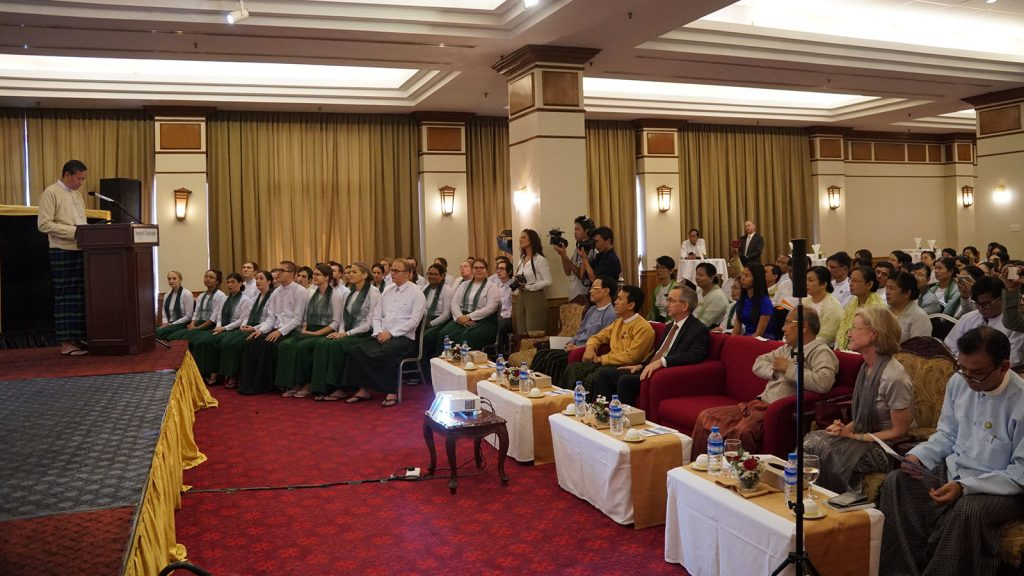 Union Minister for Education Dr. Myo Thein Gyi delivers the speech at the swearing in ceremony of American Peace Corps Volunteers in Yangon yesterday.Photo: MNA