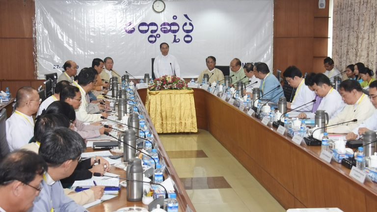 Vice President U Myint Swe delivers the speech at the meeting of the 26th regular meeting at UMFCCI office in Yangon. Photo: MNA