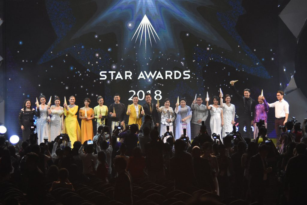 Winners of the Star Awards for 2018 celebrate after receiving the awards at the Thuwunnabhumi Event Park in Yangon.Photo: MNA