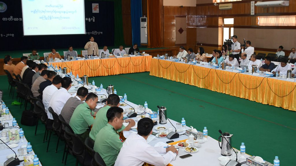 Union Minister for Information, Dr. Pe Myint, addresses the coordination meeting on media development held at the MoI building in Nay Pyi Taw.photo: mna