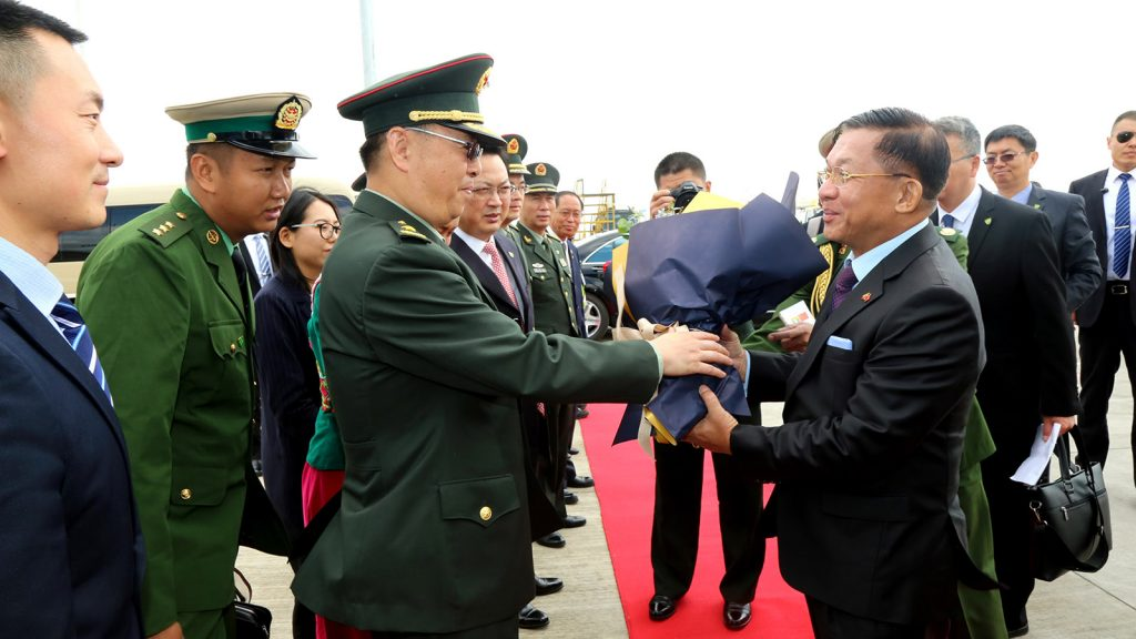 Senior General Min Aung Hlaing being welcomed at Kunming Changshui International Airport, China yesterday. Photo: Office of the Commander-in-Chief