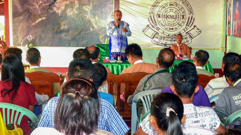 The Amyotha Hluttaw Speaker meeting with people of Hteemae Wakhee Village. PHOTO: MIN HTET