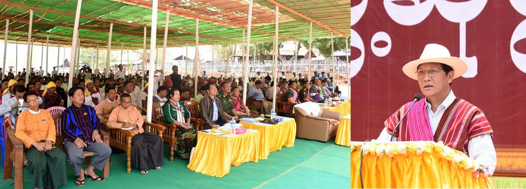 Vice President U Henry Van Thio addresses the meeting with local people from Kyin Dway in Chin State.Photo: MNA