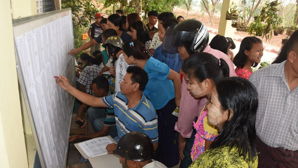 Parents and relatives of students check exam results in Nay Pyi Taw.PHOTO: HTAN PHONE