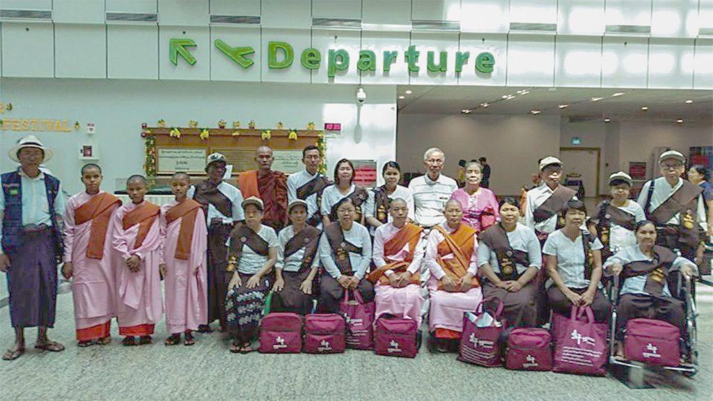 Pilgrims to Gaya seen at Yangon International Airport. Photo :Supplied