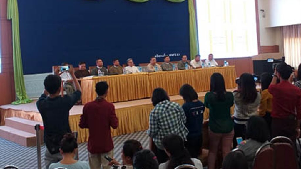 Representatives of the Myanmar Rice Federation hold the press conference on the destruction of rice from Myanmar at Cote d'Ivore.photo: mna
