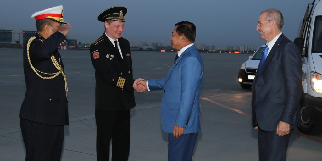 Myanmar Military Attaché (Army, Navy and Air Force) Brig-Gen Kyaw Soe Moe, Commander from the Navy of the Russian Federation Dmitry Krainov and officials see off the Senior General Min Aung Hlaing  at the Pulkovo-3 Airport in Russia on Friday.Photo : Office of the Commander-in-Chief of Defence Services