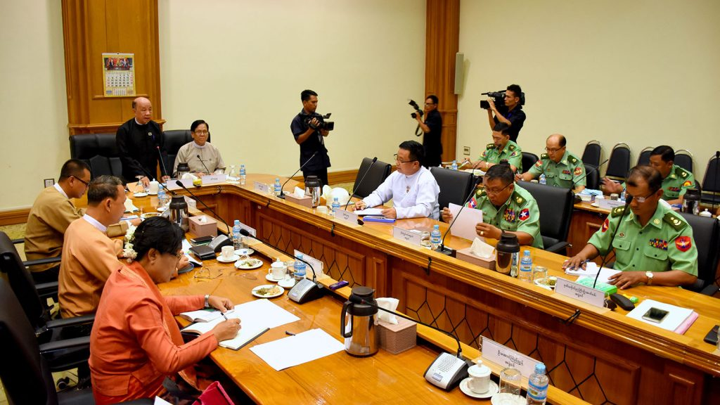 Deputy Speaker U Tun Tun Hein delivers the speech at the meeting 15/2019 of the Joint Committee on amending the 2008 Constitution in Nay Pyi Taw yesterday.photo: mna