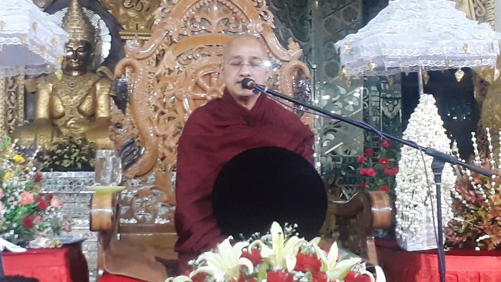 Shweparami Forest Retreat Sayadaw Ashin Sandar Dhika delivers a peace sermon to Buddhist devotees to mark the arrival of the religious objects for the Eternal Peace Pagoda.Photo: MNA