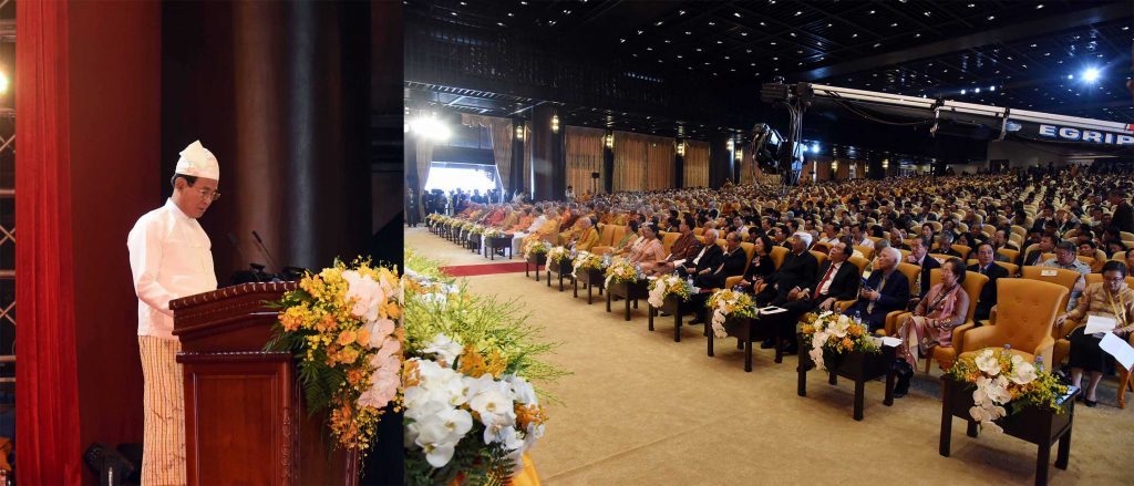 President U Win Myint delivers the speech at 16th United Nations Day of Vesak Celebration at Tam Chuc International Buddhist Convention Center in Ha Nam Province yesterday. Photo: MNA