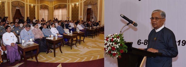 Anti-Corruption Commission Chairman U Aung Kyi addresses the the Meeting on Myanmar's Country Review Report for UNCAC Implementation Review Cycle 2 in Nay Pyi Taw yesterday.Photo: MNA