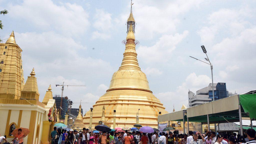 People visit the Botahtaung Pagoda in Yangon yesterday.Photo: Zaw Min Latt