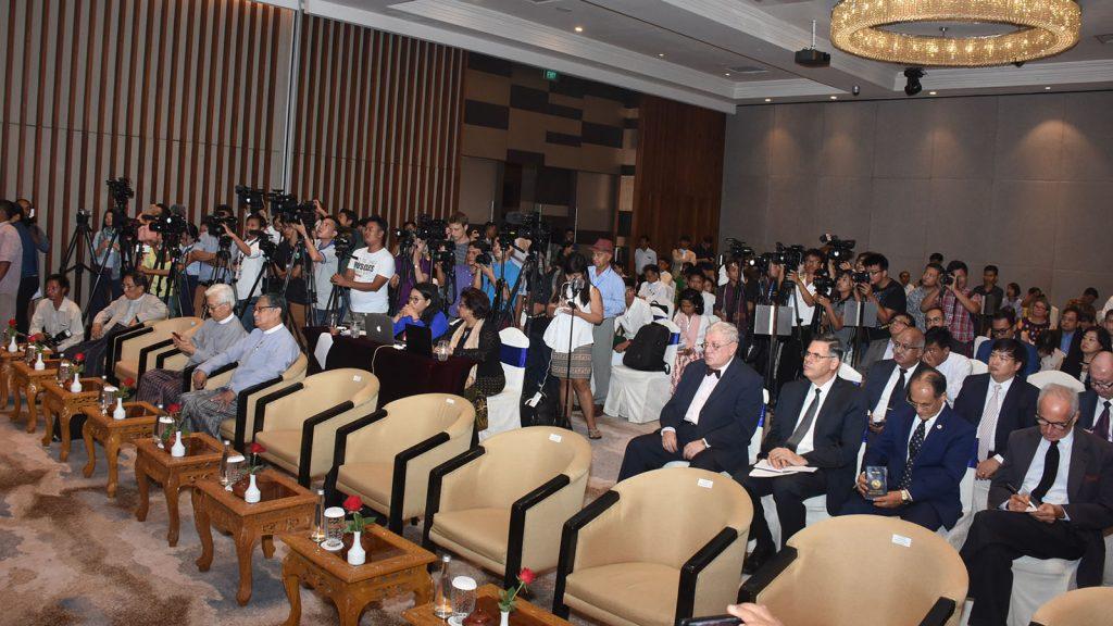 Union Ministers, representatives of UN and diplomats are seen at the press conference. Photo:  Zaw Min Latt