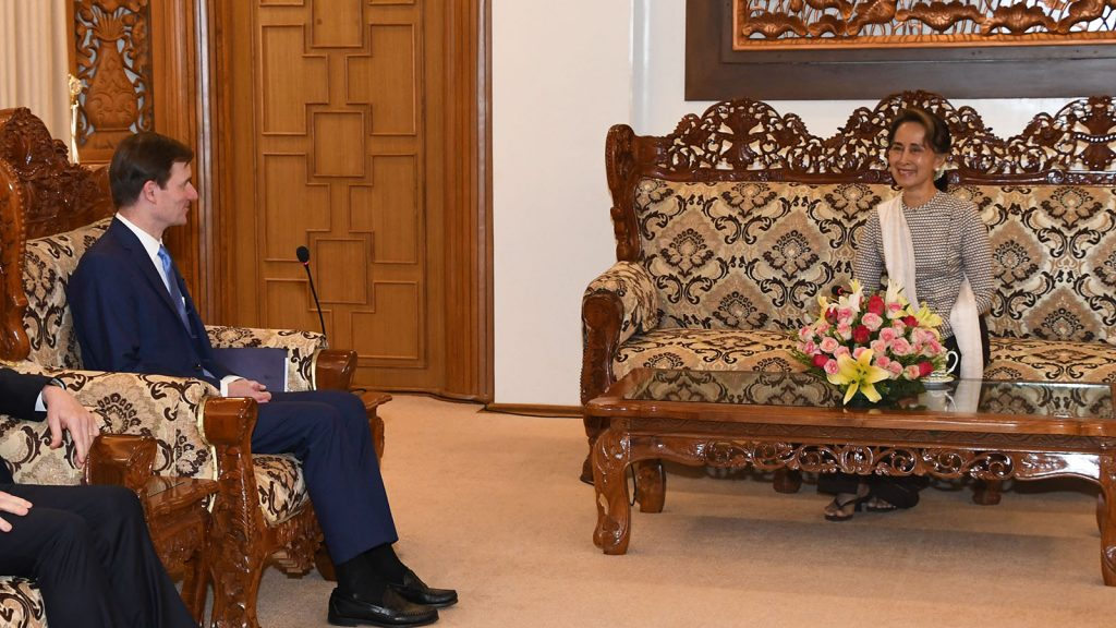 State Counsellor Daw Aung San Suu Kyi meets with Under Secretary of State for Political Affairs of the United States of America Mr. David Hale in Nay Pyi Taw.Photo: MNA