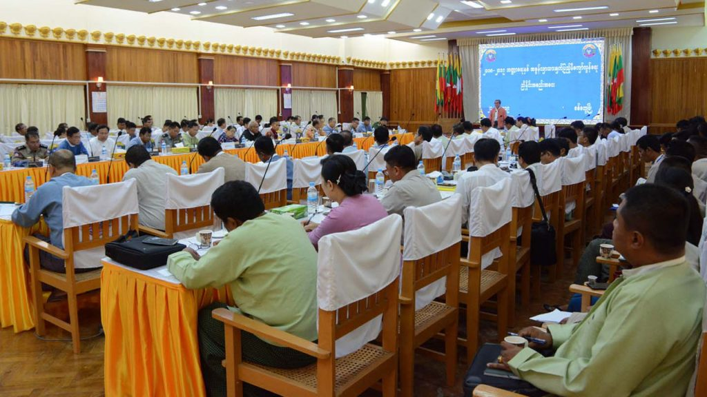 Rakhine State  Chief Minister U Nyi Pu delivers the speech at the coordination meeting on exceeding the tax collection target of the 2018-2019 Fiscal Year in Sittway. Photo: MNA