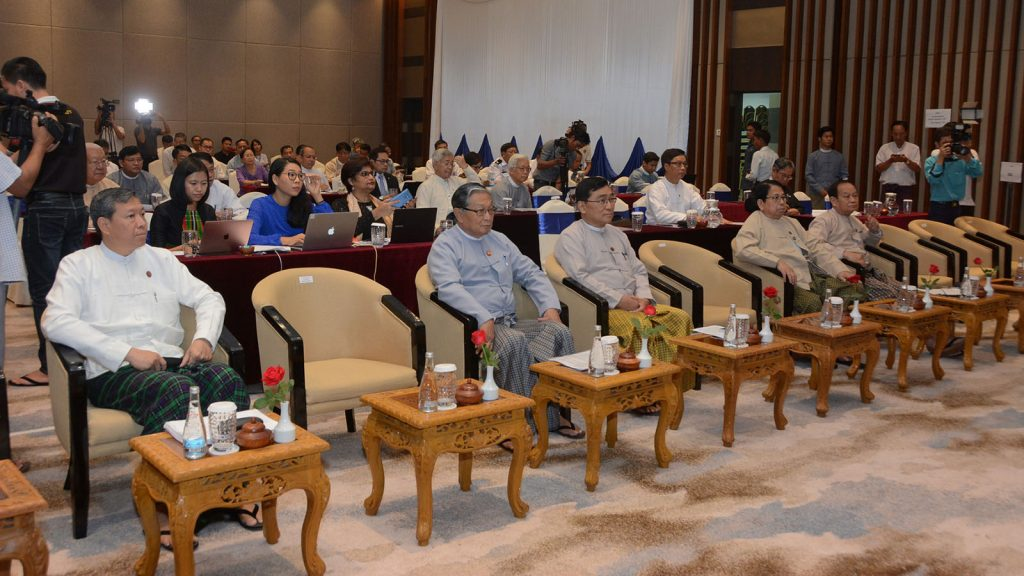Union Ministers U Kyaw Tint Swe, Dr. Pe Myint, Dr. Myint Htwe, Dr. Win Myat Aye and Dr. Myo Thein Gyi attend the second day of Workshop on Review of the Implementation of the Recommendations on Rakhine State.  Photo: MNA