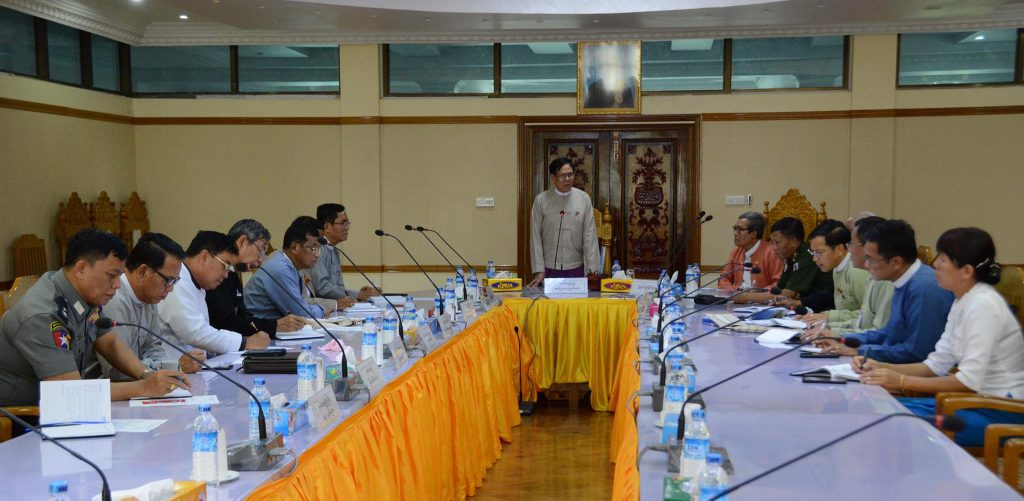 Amyotha Hluttaw Deputy Speaker U Aye Tha Aung delivers remarks at the meeting between the Committee for Supporting Peace and Stability in Rakhine State and Rakhine State Government.photo: mna