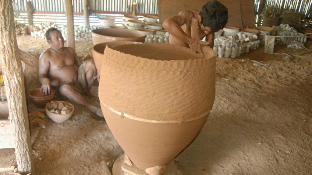 A man is crafting a clay pot at a pottery in Sagaing Region.Photo: Min Htet Aung (Mandalay sub-printing house)