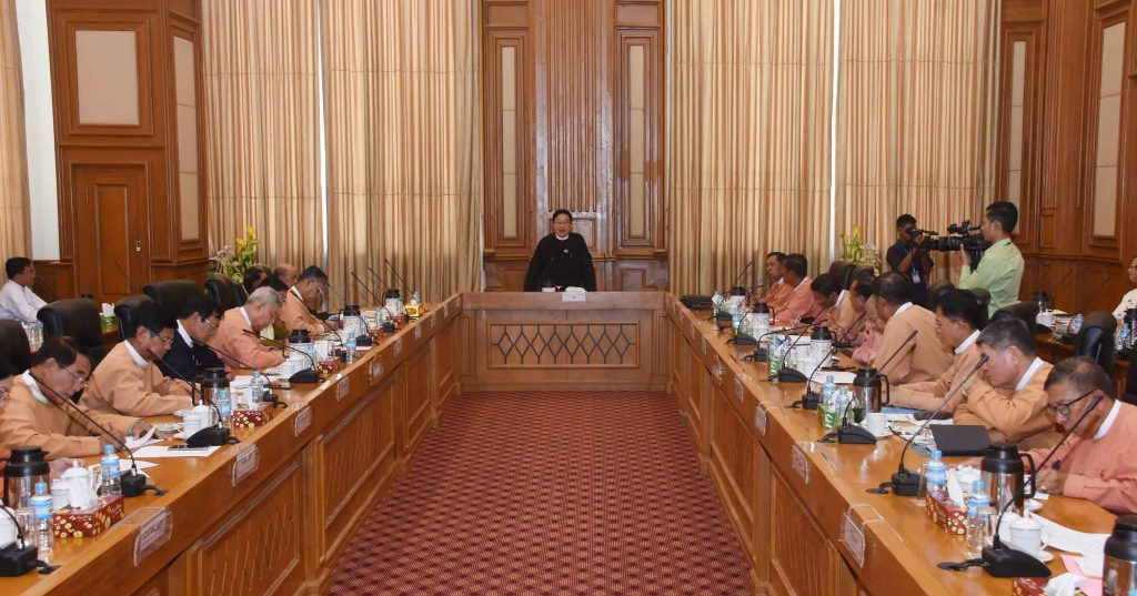 Pyithu Hluttaw Speaker U T Khun Myat addresses the coordination meeting in Nay Pyi Taw yesterday. Photo: MNA