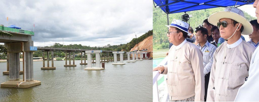 President U Win Myint (Right) visits Taninthayi Bridge construction project undertaken by the Bridge Department Special Bridge Construction Group 4 in Taninthayi yesterday. Photo: MNA