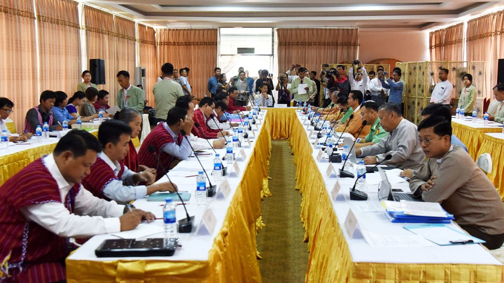 The meeting between the National Reconciliation and Peace Center (NRPC) and Karenni National Progressive Party (KNPP) takes place in Loikaw, Kayah State yesterday.Photo: MNA