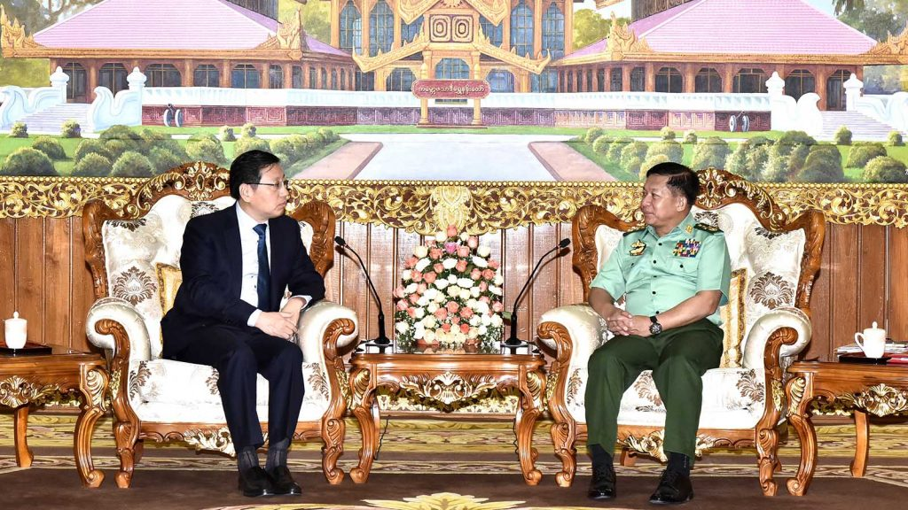 Senior General Min Aung Hlaing meets with Chinese Ambassador Mr. Hong Liang in Nay Pyi Taw yesterday.Photo: Office of the Commander-in-Chief