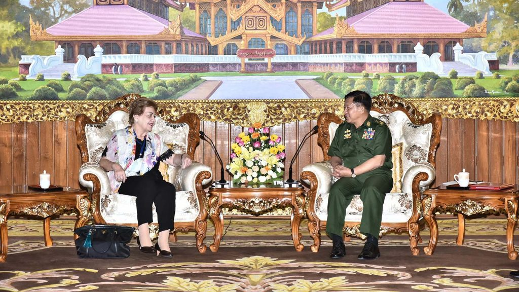 Senior General Min Aung Hlaing holds talks with Independent Commission of Enquiry Chair Ms. Rosario Manalo in Nay Pyi Taw yesterday. Photo: Office of the Commander-in-Chief