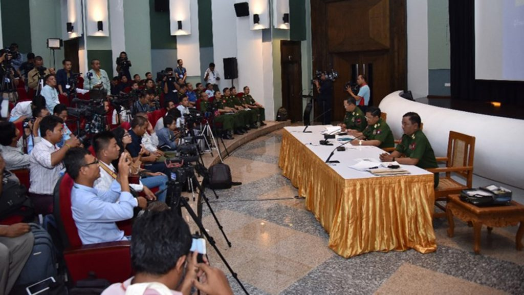 The Tatmadaw holds press conference in Nay Pyi Taw. Photo: Office of the Commander-in-Chief