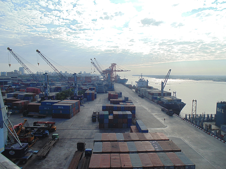 The container yard of Myanmar Industrial Port in Ahlon Township. Photo Transport copy
