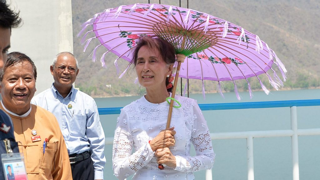 State Counsellor Daw Aung San Suu Kyi visits the Myogyi Dam in Kyaukse, Mandalay Region, yesterday.  Photo: Thet Aung