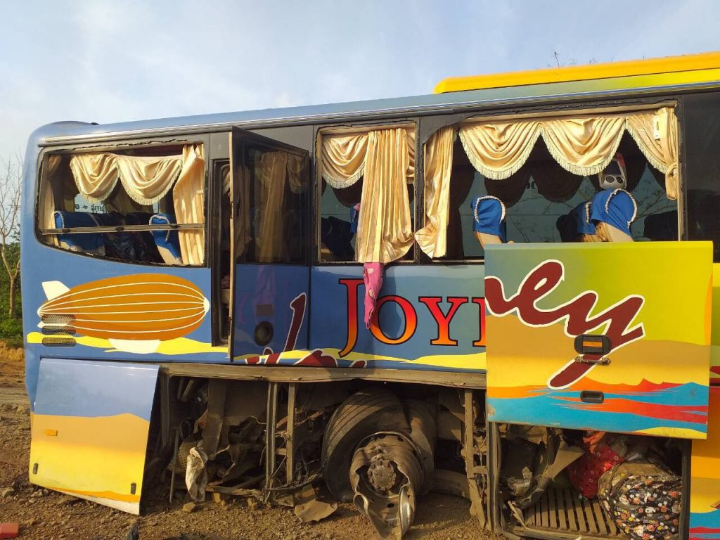 The damages on the passenger bus that hits the landmine planted by AA group on the Yangon-Sittway Road. photo: mna