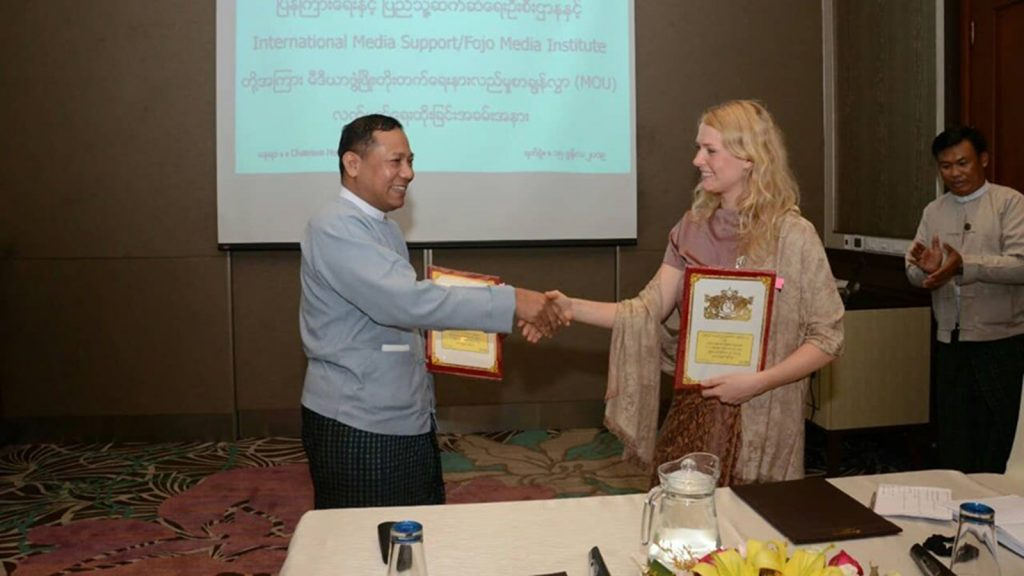 Director-General U Ye Naing shakes hand with IMS/Fojo programme manager Ms. Pernille Bo Kristensen.Photo: MNA