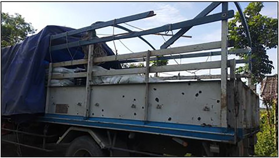 Bullet wounds are seen on the truck attacked by the AA group on 27 June.Photo: MNA