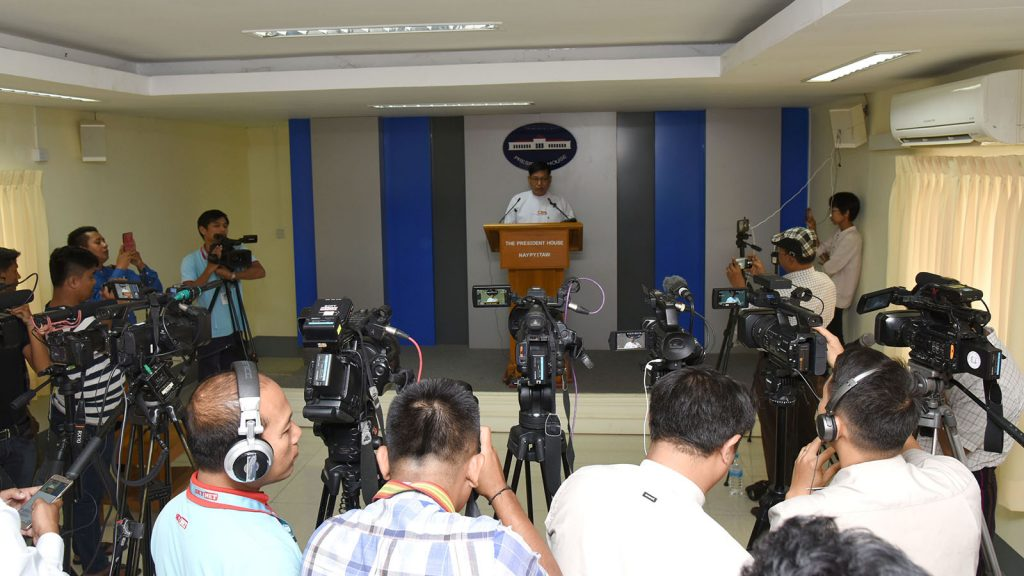 U Zaw Htay, spokesperson for the Office of the President, talks to the media during a press conference in  Nay Pyi Taw.photo: mna