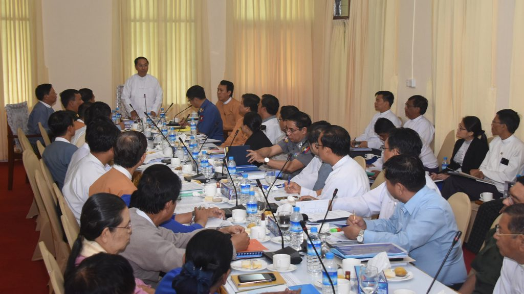 Vice President U Myint Swe addresses at the coordination meeting for holding 72nd Anniversary of Martyrs' Day in Yangon yesterday.Photo: MNA
