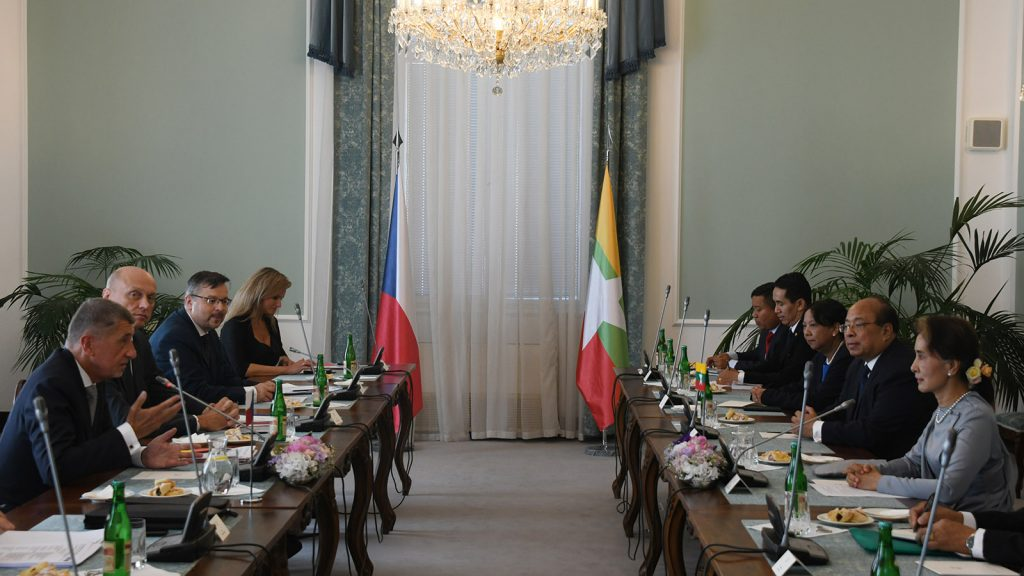 State Counsellor Daw Aung San Suu Kyi holds a bilateral meeting with Prime Minister Mr. Andrej Babiš in Prague, Czech Republic yesterday. Photo: MNA