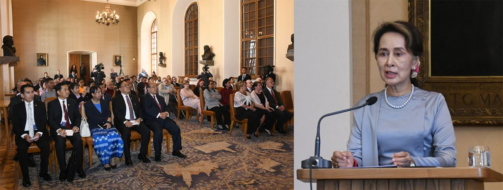 State Counsellor Daw Aung San Suu Kyi gives the lecture on Myanmar's transition period experience at Charles University in Prague on 3 June, 2019.Photo: MNA