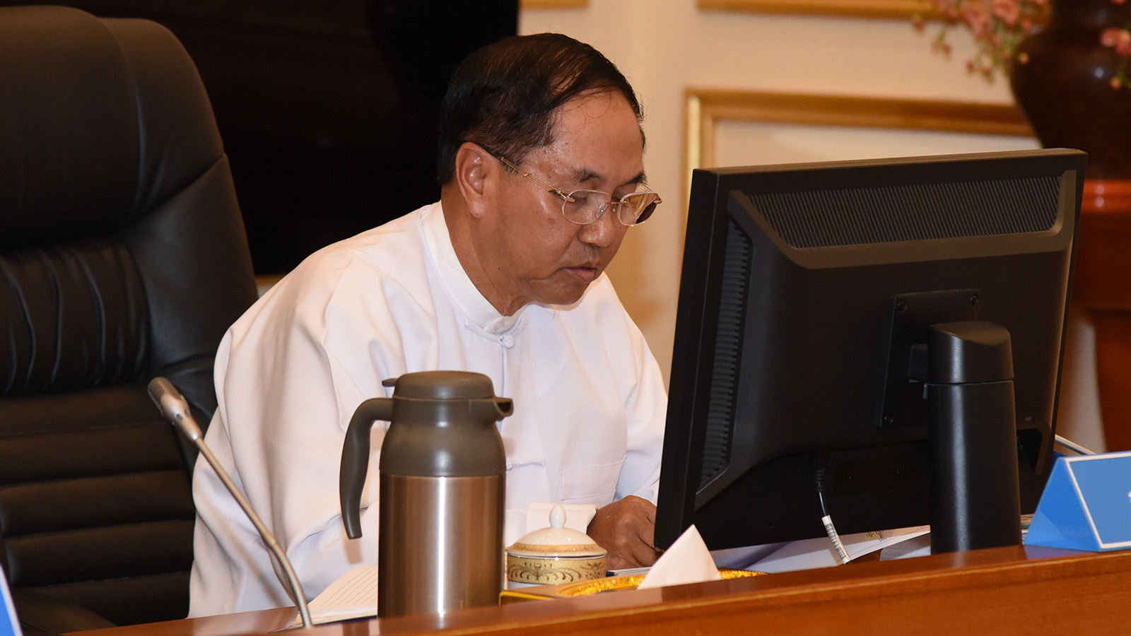 Vice President U Myint Swe makes remarks at the Finance Commission meeting 3/2019 at the Presidential Palace.Photo: MNA