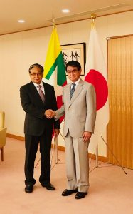 Union Minister U Kyaw Tint Swe shakes hands with Japanese Foreign Minister Mr. Taro Kono in Tokyo, Japan.Photo: MNA